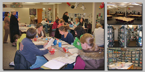 Classroom of teachers engaged in professional development activities